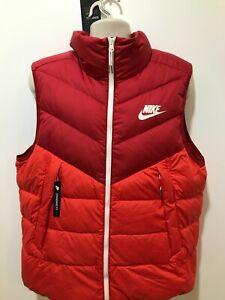 Nike Down Fill Men's Size XL Red Full Zip Sportswear Windrunner Vest $120 NWT