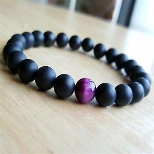 8mm Matte Black Onyx Beads Handmade Bracelet 7.5inch Mala Religious Lucky