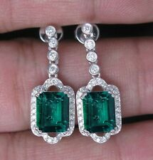 Real 14KT White Gold 2.85Ct Natural Green Emerald EGL Certified Diamond Earrings