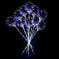 5/10pcs Sequins Handle LED Balloons Party Luminous Transparent Bobo Balloon Gift