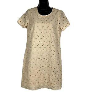 Garnet Hill dress 4 Organic Cotton Cutwork Embroidery Almond beige shift ss