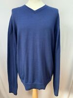 Mens | Tommy Hilfiger Premium Merino Wool V Neck Jumper Sweater | Blue | Size XL