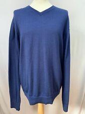 Mens | Tommy Hilfiger Premium Merino Wool V Neck Jumper Sweater | Blue | Size XL