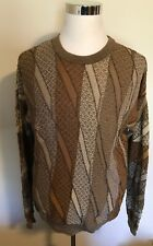 Vintage 90s Tundra Canada Coogi Style Men's Knit Sweater Sz Large Textured Brown