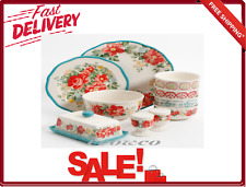20-Piece Dinnerware Plate Set Vintage Ruffle Floral Tableware Service for 4 New