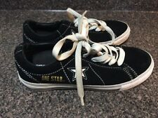 CONVERSE ONE STAR WOMEN'S LACE UP LOW TOP SHOES SIZE 7.5 BLACK CANVAS RARE GOLD