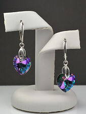 925 Silver Earrings made with Swarovski Crystals Heart 14mm - Vitrail Light