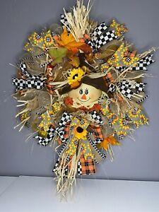 🌷Türkranz Wandkranz *Vogelscheuche* Herbstkranz Deco Mesh Amerikanischer Stil