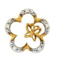 10K SOLID YELLOW GOLD 0.05 CTW DIAMOND FLOWER SMALL PENDANT (NO CHAIN)