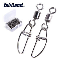 50pcs/lot Stainless Steel Rolling Swivels Insurance Snap Fishing Lure Connector