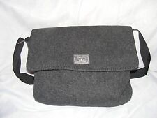 "LUCKY MESSENGER BAG, Charcoal Gray Wool Laptop Bag, L15""  W3.5"" Adjustable strap"