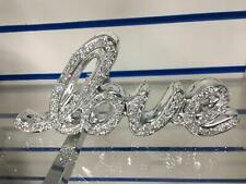 Crushed Crystal Diamond Silver FAMILY HOME & LOVE Sign Ornament Shelf Sitter NEW