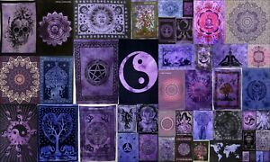 Beautiful Purple Small Tapestry Poster Indien Table Cover Wall Hanging Cotton