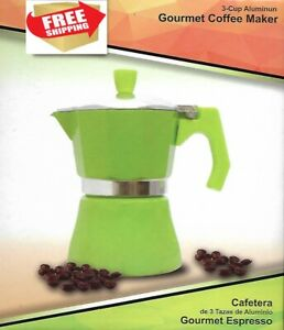Green Stove Top Espresso Coffee Maker pot Cappuccino Latte 3 Cup Cafetera Cubana