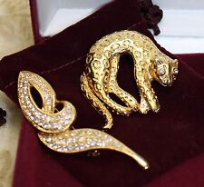 Vintage Articulated Leopard Modernist Brooch Pin Set Pouch Box