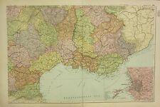 1912 LARGE ANTIQUE MAP ~ FRANCE SOUTH EAST ~ ENVIRONS MARSEILLES