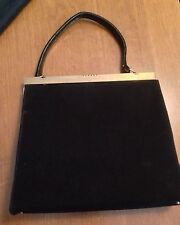 Vintage Paristyle Handbag 1950s 1960s Black Purse With Brass Clasp Very Nice!