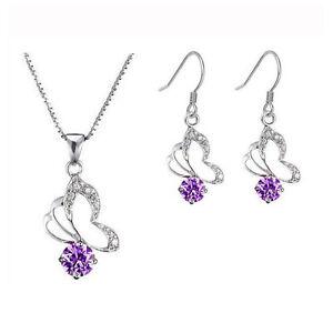 Lila Schmetterlinge Schmuckset Halskette Tropfen Kristall M Ohrringe S254