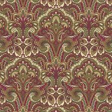 Arabella Rose Paisley Twist Holiday Red Green Floral Quilt Fabric 1314-1 4C