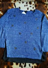 New Lovely JESSICA SIMPSON UK10 SizeS Knitted Embelished Sweater Blue Jumper $89