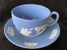 Vintage Blue Wedgewood Jasperware Tea Cup & Saucer Set