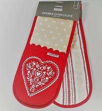 "36"" Red Oven Glove Sabichi Kitchen Brown White Dots 100% Cotton Cosy Double Mitt"