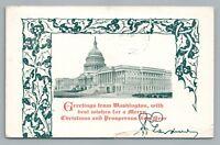 """Merry Christmas—Washington DC"" Rare Antique Postcard—US Capitol 1916"