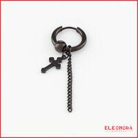 orecchino cerchio uomo acciaio nero pendente inox  orecchini donna con croce da