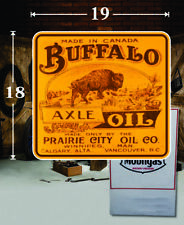 "(1) 18"" x 19"" BUFFALO Axle Oil Gas Vinyl Decal Lubester Oil Pump Can Lubster"