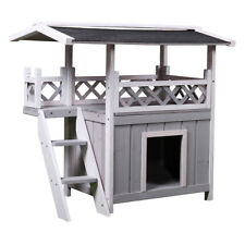 Indoor Dog House Outdoor Shelter Roof Cat Condo Wood Steps Balcony Puppy Stairs