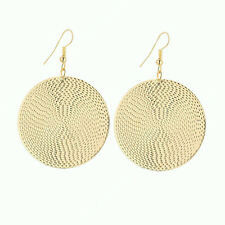 Big Gold Disc Earrings Round Statement Party Drop Hoop Ethnic Boho Large African