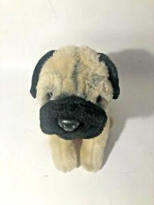 """Animal Alley Vtg Toys R Us Pug Dog Tan Black Plush 13"""" 2000 Geoffrey Kids"""