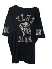 Men's Size 3XL TRUE RELIGION Black & White Short Sleeve Tee Shirt Native