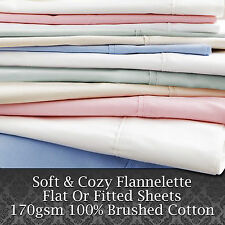 Luxury Soft 100% Brushed Cotton Flannelette Flat / Fitted Bed Sheets 30cm Deep