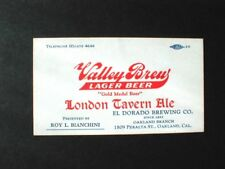 EARLY VALLEY BREW LAGER LONDON TAVERN ALE, BEER BUSINESS CARD, OAKLAND, CAL.
