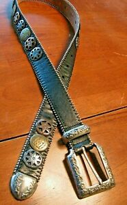 Streets Ahead Leather Belt with Beading Mixed Metals Concho Southwestern Ornate