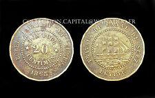 Égypte, SUEZ,  20 Centimes. Borel Lavalley et Cie. Laiton. 20 pans