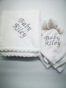 Personalised  embroidered BABY WAFFLE BLANKET gift set 4 colors SUPER SOFT