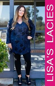 Lisa's Lacies - Midnight Georgie V Neck Top Plus Size - Sizes 16-34