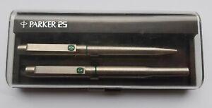 ⭐ Vintage Parker 25 Green Makk II Fountain & Ballpoint Pen F Nib ⭐