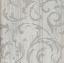 Vlies Tapete Antik Holz rustikal Ornament Muster Barock grau beige shabby