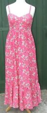 PRETTY MONSOON 1970's style Raspberry Pink Floral SUMMER MAXI DRESS SIZE 14