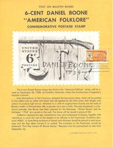 #1357 6c Daniel Boone Stamp Poster- Unofficial Souvenir Page Folded MC