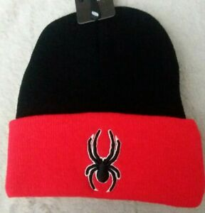 Spider Knit Beanie Hat New Winter Red & Black Headwear Toboggan Ages 3-8 Boys
