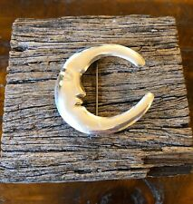 Big Sterling Silver Cresecent Moon Face Vintage Taxco Vintage Brooch