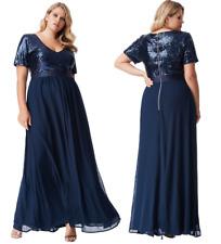 Goddiva Navy Short Sleeve Chiffon Sequin Maxi Evening Dress Formal Ball Gown