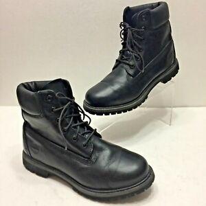 TIMBERLAND 6-INCH PREMIUM WATERPROOF Womens 9M BLACK LEATHER COMBAT BOOTS 8161B