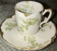 Haviland Limoges Bone China Demitasse Cup And Saucer, Schleiger 61L Pattern