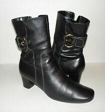 ECCO Women's Black Leather Fashion Zipper Dress Ankle Boots 37 EU / 6 - 6.5 US