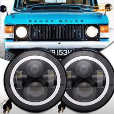 "1970-95 Land Rover Range Rover Classic DOT 7"" Round Black LED Headlights Hi/Lo"